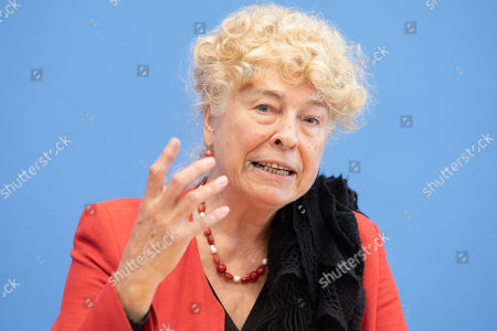 Gesine Schwan, chairwoman of the German Social Democratic Party (SPD) core-values commission speaks during a press conference with Deputy Chairman of the German Social Democratic Party (SPD) Ralf Stegner (not pictured) at the Federal Press Conference in Berlin, Germany, 16 August, 2019. The two politicians presented their joint candidacy for the SPD leadership. Since the resignation of former SPD leader Andrea Nahles and low support rates in several local and federal election campaigns in the country, some voices from with in the party note that the SPD will need a double headed leadership to handle its challenges.