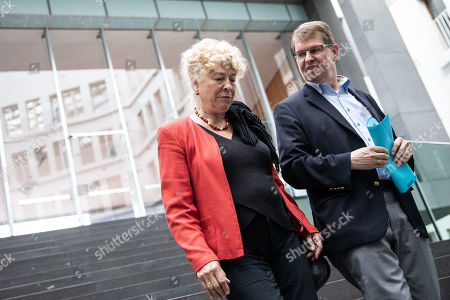 Deputy Chairman of the German Social Democratic Party (SPD) Ralf Stegner (R) and Gesine Schwan, chairwoman of the German Social Democratic Party (SPD) core-values commission (L) leave after a press conference at the Federal Press Conference in Berlin, Germany, 16 August, 2019. The two politicians presented their joint candidacy for the SPD leadership. Since the resignation of former SPD leader Andrea Nahles and low support rates in several local and federal election campaigns in the country, some voices from with in the party note that the SPD will need a double headed leadership to handle its challenges.