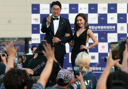 South Korean actors Cho Jin-woong (C-L) and Choi Hee-seo (C-R), the co-hosts of the 1st PyeongChang International Peace Film Festival, pose for the cameras and wave to fans during a presentation at the PyeongChang Olympic Stadium, some 180 kilometers east of Seoul, South Korea, 16 August 2019. The 1st PyeongChang International Peace Film Festival runs until 20 August in Pyeongchang and nearby Gangneung.