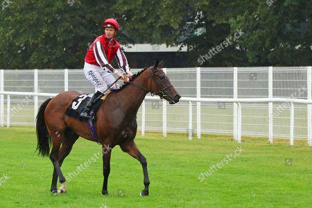 Stock Image of GAME AND SET ridden by David Probert after winning The Tom Mitchell 65th Birthday British EBF Fillies' Novice Stakes at Newbury Copyright: Ian Headington/racingfotos.com