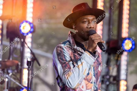 Aloe Blacc performs on NBC's Today show at Rockefeller Plaza, in New York