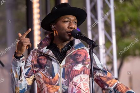 Stock Image of Aloe Blacc performs on NBC's Today show at Rockefeller Plaza, in New York