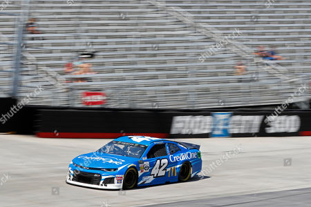 Driver Kyle Larson makes his was around the track during practice for a NASCAR Cup Series auto race, in Bristol, Tenn