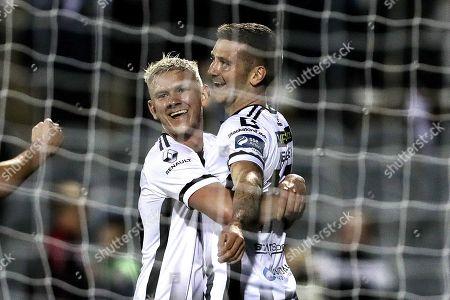 Dundalk vs Finn Harps. Dundalk's Patrick McEleney celebrates scoring a goal with Sean Murray