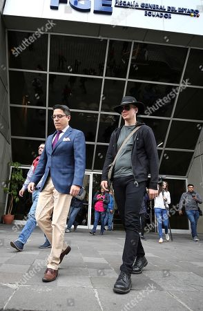 Swedish computer expert Ola Bini (R) and lawyer Carlos Soria (L) arrive at General Attorney's office, in Quito, Ecuador, 16 August 2019. Bini, friend of Julian Assange is under investigation for alleged espionage. Ecuador's General Attorney's office has ordered the analysis of his smartphone.