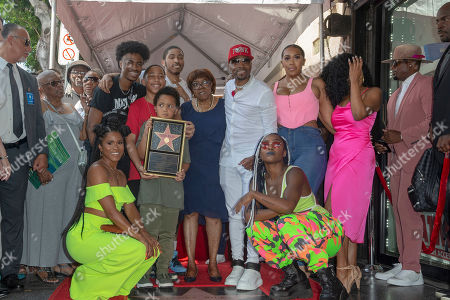 US Artist/music producer Teddy Riley(c) poses with friends and family in front of his star during a star ceremony honoring him with the 2,670th star on the Hollywood Walk of Fame in Hollywood, California, USA, 16 August 2019. The star was dedicated in the Category of Recording.