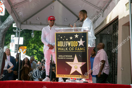 US Recording artist/producer Tank (R) introduces US recording artist/music producer Teddy Riley(L) during a star ceremony honoring Teddy Riley for the 2,670th star on the Hollywood Walk of Fame in Hollywood, California, USA, 16 August 2019. The star was dedicated in the Category of Recording.