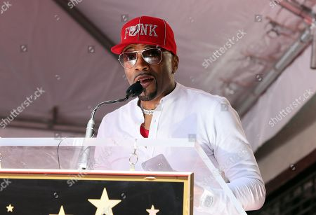 US Artist/music producer Teddy Riley speaks to the crowd during his star ceremony for the 2,670th star on the Hollywood Walk of Fame in Hollywood, California, USA, 16 August 2019. The star was dedicated in the Category of Recording.