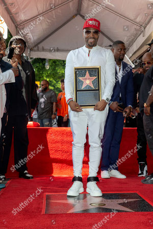 US Artist/music producer Teddy Riley poses in front of his star during a star ceremony honoring him with the 2,670th star on the Hollywood Walk of Fame in Hollywood, California, USA, 16 August 2019. The star was dedicated in the Category of Recording.