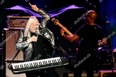 Stock Image of Edgar Winter plays as part of a concert celebrating the 50th anniversary of Woodstock in Bethel, N.Y., . Bethel Woods Center for the Arts is hosting a series of events Thursday through Sunday at the bucolic 1969 concert site, 80 miles (130 kilometers) northwest of New York City