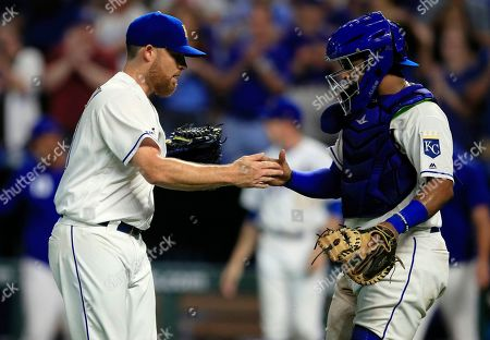 Ian Kennedy, Meibrys Viloria. Kansas City Royals relief pitcher Ian Kennedy, left, shakes hands with catcher Meibrys Viloria following the team's baseball game against the New York Mets at Kauffman Stadium in Kansas City, Mo., . The Royals won 4-1