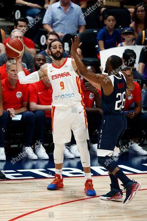 Spain guard Ricky Rubio (L) in action against USA guard Kemba Walker (R) during an FIBA exhibition basketball game between the USA and Spain at the Honda Center in Anaheim, California, USA, 16 August 2019.