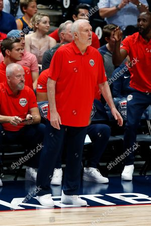 USA head coach Gregg Popovich reacts to a call during an FIBA exhibition basketball game between the USA and Spain at the Honda Center in Anaheim, California, USA, 16 August 2019.
