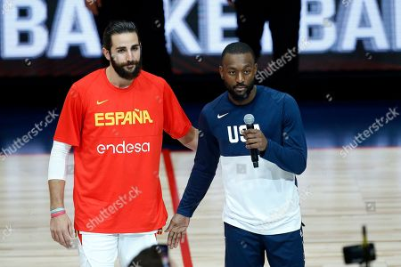 Spain guard Ricky Rubio (L) and USA forward Kemba Walker (R) talk to the crowd during an FIBA exhibition basketball game between the USA and Spain at the Honda Center in Anaheim, California, USA, 16 August 2019.