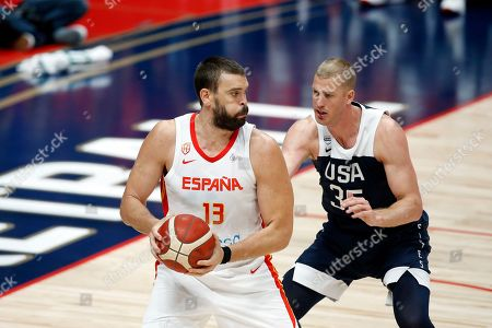 Stock Picture of Spain center Marc Gasol (L) in action against USA center Mason Plumlee (R) during an FIBA exhibition basketball game between the USA and Spain at the Honda Center in Anaheim, California, USA, 16 August 2019.