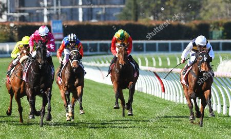Jockey Damien Oliver (R) rides Benitoite to win race 2, the Black Caviar Tribute Handicap, during the PB Lawrence Stakes Day at Caulfield Racecourse in Melbourne, Australia, 17 August 2019.