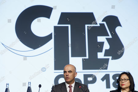 Swiss Interior Minister Alain Berset (L) and CITES Secretary-General Ivonne Higuero (R) delivers his statement during the opening remarks of the World Wildlife Conference - CITES CoP18, in Geneva, Switzerland, 17 August 2019. Delegates from over 180 countries gather in Geneva for Convention on International Trade in Endangered Species of Wild Fauna and Flora (CITES) conference to debate protection of species as elephants, giraffes, sharks, rhinos and some plant and tree species.
