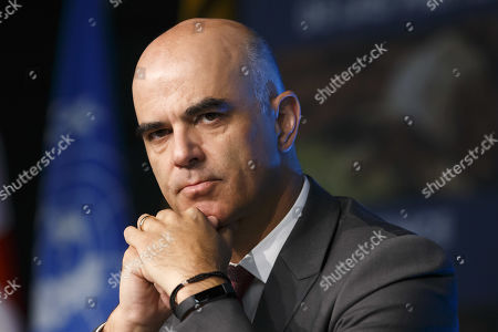 Swiss Interior Minister Alain Berset during the opening remarks of the World Wildlife Conference - CITES CoP18, in Geneva, Switzerland, 17 August 2019. Delegates from over 180 countries gather in Geneva for Convention on International Trade in Endangered Species of Wild Fauna and Flora (CITES) conference to debate protection of species as elephants, giraffes, sharks, rhinos and some plant and tree species.
