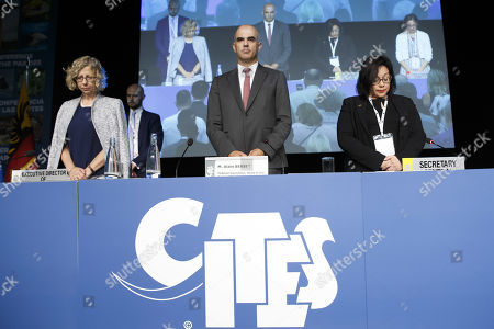 Swiss Interior Minister Alain Berset (C) with Executive Director of the United Nations Environment Programme Inger Andersen (L) and CITES Secretary-General Ivonne Higuero (R) stand up for pay tribute to the victims of the Easter terrorist attacks in Colombo, Sri Lanka in 2019 during the opening remarks of the World Wildlife Conference - CITES CoP18, in Geneva, Switzerland, 17 August 2019. Delegates from over 180 countries gather in Geneva for Convention on International Trade in Endangered Species of Wild Fauna and Flora (CITES) conference to debate protection of species as elephants, giraffes, sharks, rhinos and some plant and tree species.