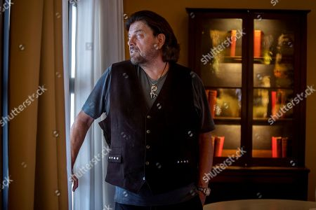 Stock Image of British music and composer Alan Parsons poses during an interview in Jerez de la Frontera, Southern Spain, 17 August 2019. Parsons will be performing during the closure of the Tio Pepe Festival, during his unique concert in Spain this year later on 17 August 2019.