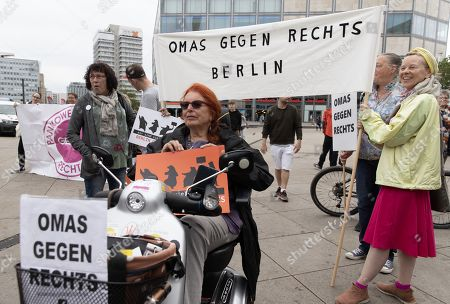 Editorial image of Demonstration against Rudolf Hess commemorative march in Berlin, Germany - 17 Aug 2019