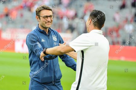 Stock Image of Co-Trainer Robert Kovac (FC Bayern Muenchen) and Chegtrainer Ante Covic (Hertha BSC Berlin) begruessen sich , FC Bayern Muenchen vs. Hertha BSC Berlin, Football, 1.Bundesliga, 16.08.2019, DFB regulations prohibit any use of photographs as image sequences and/or quasi-video , FC Bayern Muenchen vs. Hertha BSC Berlin, Football, 1.Bundesliga, 16.08.2019, DFB regulations prohibit any use of photographs as image sequences and/or quasi-video