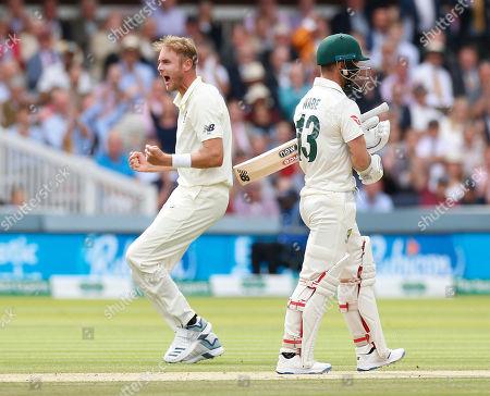 Stuart Broad of England celebrates dissmissing Matthew Wade of Australia