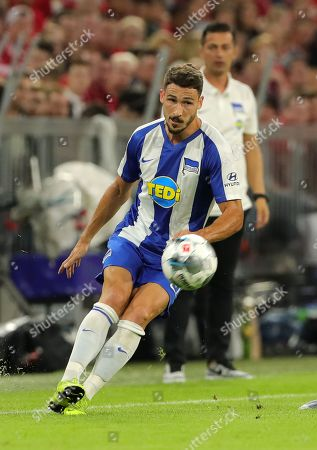 Mathew Leckie,   Trainer Ante Covic    / Sport / Football / DFL Bundesliga  /  2019/2020 / 16.08.2019 / FC Bayern Muenchen FCB vs. Hertha BSC Berlin / DFL regulations prohibit any use of photographs as image sequences and/or quasi-video. /