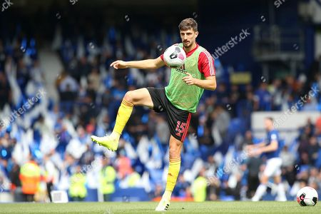 Watford defender Craig Cathcart (15) warming up during the Premier League match between Everton and Watford at Goodison Park, Liverpool
