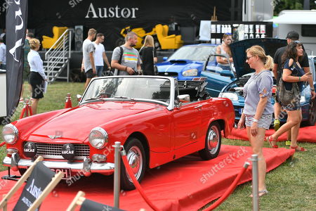 A classic 1960s Austin-Healey Sprite car is on display at the 'MotoClassic Wroclaw 2019' at Topacz Castle near Wroclaw, Poland, 17 August 2019.