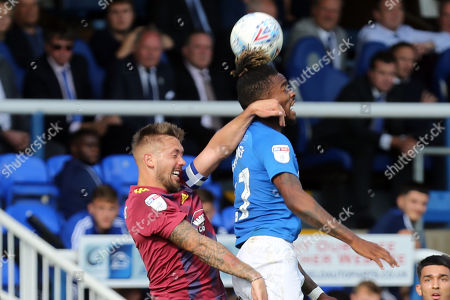 Luke Chambers of Ipswich Town and Ivan Toney of Peterborough United during Peterborough United vs Ipswich Town, Sky Bet EFL League 1 Football at London Road on 17th August 2019