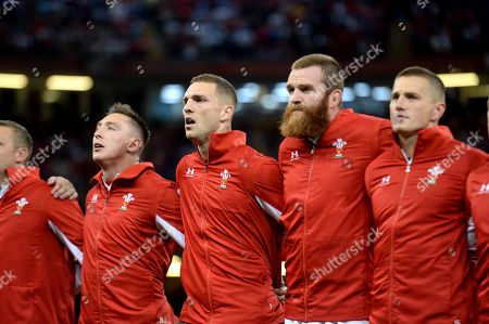 Josh Adams, George North, Jake Ball and Jonathan Davies of Wales line up for the anthems.