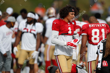 R m. San Francisco 49ers wide receiver Shawn Poindexter (1) during a combined NFL football training camp at the Broncos' headquarters, in Englewood, Colo