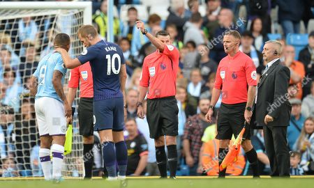 Manchester City's Gabriel Jesus (L) is comforted by Tottenham Hotspurs Harry Kane (2-L) after his a goal was disallowed during the English Premier League soccer match between Manchester City and Tottenham Hotspurs at the Etihad Stadium in Manchester, Britain, 17 August 2019.
