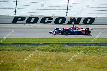 Alexander Rossi drives during a practice session for Sunday's IndyCar Series auto race at Pocono Raceway, in Long Pond, Pa