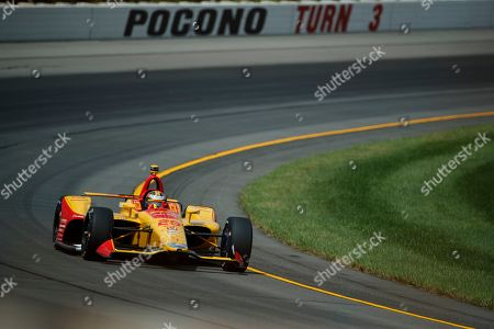 Ryan Hunter-Reay drives during a practice session for Sunday's IndyCar Series auto race at Pocono Raceway, in Long Pond, Pa