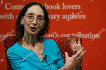 Author Joyce Carol Oates speaks about her process for constructing a story, at the Mississippi Book Festival in Jackson, Miss. Oates was one of several dozen authors who participated in a variety of panels or sitdown interviews for festival attendees