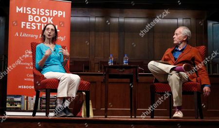 Stock Image of Joyce Carol Oates, Richard Ford. Authors Richard Ford, right, and Joyce Carol Oates talk about their processes for constructing a story, at the Mississippi Book Festival in Jackson, Miss