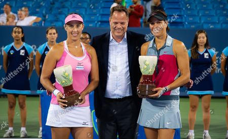 Andreja Klepac of Slovenia & Lucie Hradecka of the Czech Republic pose with their winners trophies after the doubles final