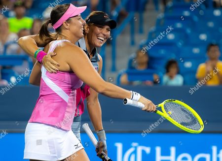 Andreja Klepac of Slovenia & Lucie Hradecka of the Czech Republic in action during the doubles final