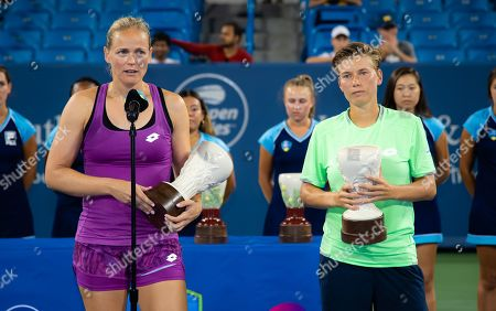 Anna Lena Groenefeld of Germany & Demi Schuurs of the Netherlands during the trophy ceremony after the doubles final