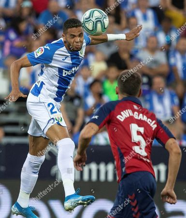 Osasuna's Spanish defender David Garcia (R) in action against Leganes' Moroccan striker Youssef En-Nesyri (L) during the LaLiga soccer match between Leganes and Osasuna, in Madrid, Spain, 17 August 2019.
