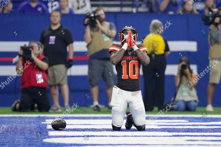 Stock Photo of Cleveland Browns wide receiver Jaelen Strong (10) celebrates his touchdown catch against the Indianapolis Colts during the first half of an NFL preseason football game in Indianapolis