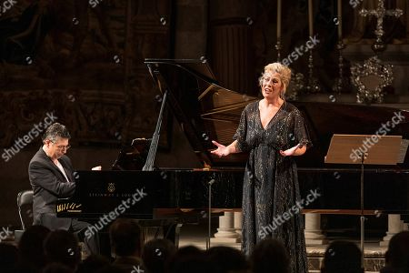 Stock Picture of US soprano Sondra Radvanovsky (R) performs during a recital in tribute to late Spanish soprano Montserrat Caballe during the last day of Peralada Festival, Catalonia, Spain, 17 August 2019. Caballe died on 06 October 2018.