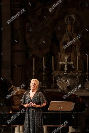 Stock Image of US soprano Sondra Radvanovsky performs during a recital in tribute to late Spanish soprano Montserrat Caballe during the last day of Peralada Festival, Catalonia, Spain, 17 August 2019. Caballe died on 06 October 2018.