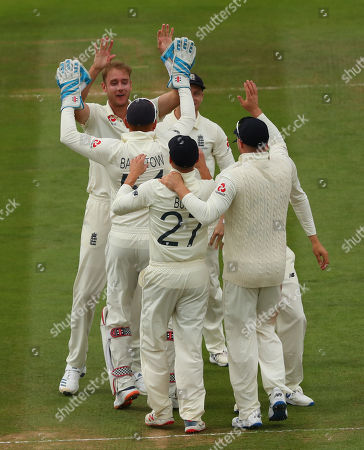LONDON, ENGLAND. 17 AUGUST Stuart Broad of England celebrates taking the wicket of Matthew Wade of Australia during the 2nd Specsavers Ashes Test Match, at Lords Cricket Ground, London, England
