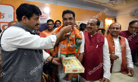 Former Delhi Cabinet Minister and AAP MLA Kapil Mishra joins the Bharatiya Janata Party in the presence of National Vice President and in charge Delhi BJP Shyam Jaju, Delhi BJP President Manoj Tiwari, Vijay Goel, and leader of opposition Delhi Assembly Vijender Gupta among others, at Delhi BJP office