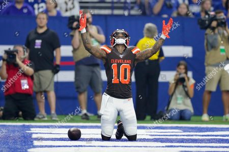 Stock Picture of Cleveland Browns wide receiver Jaelen Strong (10) celebrates a touchdown against the Indianapolis Colts during the first half of an NFL preseason football game in Indianapolis