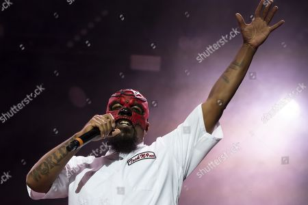 Aaron Dontez Yates aka Tech N9ne performs on the Main Stage during the 20th edition of Royal Arena Festival, in Biel, Switzerland, 17 August 2019.