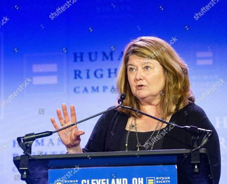 Pulitzer Prize winning journalist Connie Schultz speaks at the Human Rights Campaign Cleveland Dinner . Schultz is the wife of United States Senator Sherrod Brown (D-Ohio